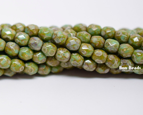 4mm Green Turquoise  Picasso Round Fire Polished (600 Pieces)