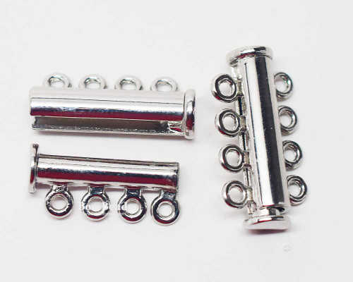 25x13.5x7mm Eight Hole Silver Slide Tube Magnetic Clasp (Each)