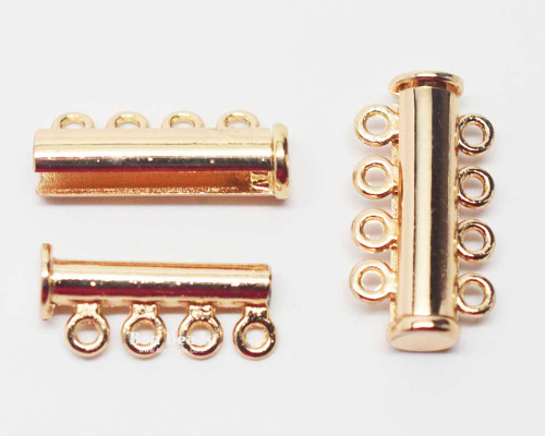 25x13.5x7mm Eight Hole Gold Slide Tube Magnetic Clasp (Each)