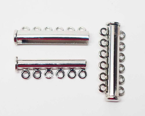 36x13.5x7mm Twelve Hole Silver Slide Tube Magnetic Clasp (Each)