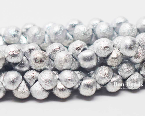 4mm Silver Ore Etched Wide Cap Mushroom Buttons (600 Pieces)
