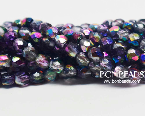4mm Magic Violet  Etched Round Fire Polished (600 Pieces)