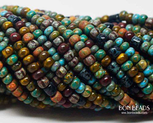 6/0 Aged Turquoise Brown Striped Tube Picasso Mix (1/4 Kilo)