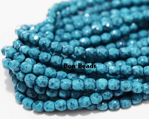 4mm  Mineral Mosaic Turquoise Round Fire Polished (600 Pieces)