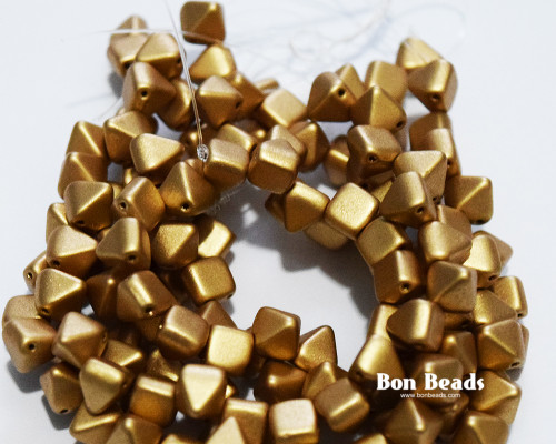 6mm Aztec Gold 2 Hole Pyramids (150 Pieces)