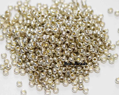 13/0 Double Coated Silky Silver Charlottes (50 Grams)