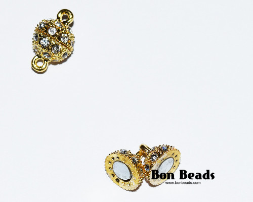 16x10mm Gold Rhinestone Magnetic Clasp (Each)