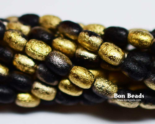 4x6mm Black Gold Etched Rice (600 Pieces)