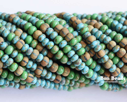 6/0 Aged Laguna Turquoise Picasso Matted Striped Mix (1/4 Kilo)