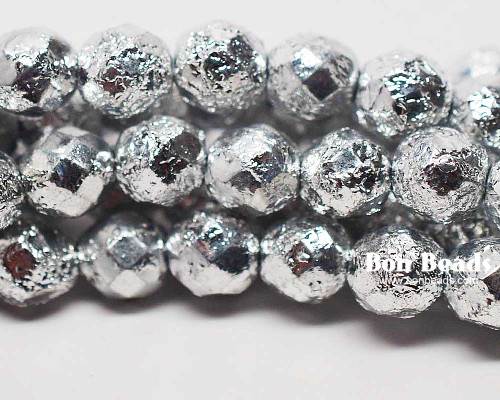 8mm Silver Ore Etched Round Fire Polished (150 Pieces)