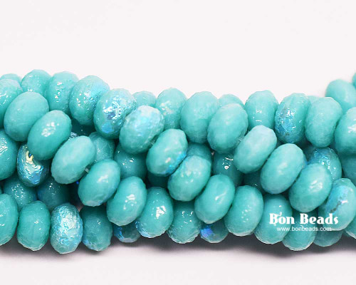 4x7mm Green Turquoise AB Etched Rondelles (300 Pieces)