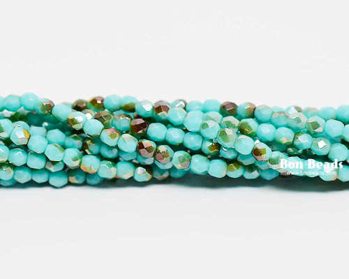 3mm Blue Turquoise Celsian Round Fire Polished (600 Pieces)