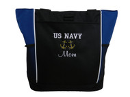 Anchor Duo Nautical Navy Mom Military Monogammed Personalized Embroidered Zippered ROYAL BLUE Tote Bag Font style VARSITY and CASUAL SCRIPT