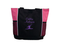 Twirl Silhouette Gymnastics Cheer Personalized Embroidered Zippered Tote Bag Hot Pink Puprle Font Casual Script