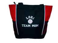 Baseball Sports Team Mom Custom Personalized RED Tote Bag  Font Style Varsity Collegiate