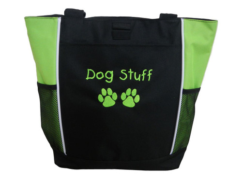 Paw Prints Vet Tech Dog Stuff Groomer Walker Pet Sitting Custom Embroidered LIME GREEN Tote Bag Font Style Childs Play