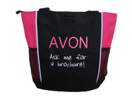 AVON Ask me for a Brochure! HOT PINK Tote Bag ARIAL & JENKINS Font Style