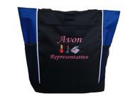 AVON Representative Sales Rep Beauty Nail Polish Lipstick Powder Compact Foundation ROYAL BLUE Tote Bag MONO CORSIVA Font Style