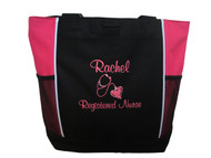 Heart Stethoscope Nursing Student Registered Nurse RN LPN HOT PINK Tote Bag Font Style CASUAL SCRIPT