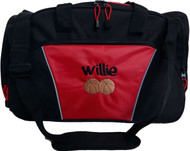 Basketball RED DUFFEL Coach Team Mom Sports Font Style GRAFFITI (all lower case letters only)