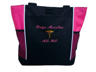 Caduceus Nursing Registered Nurse RN BSN CNA LPN Student HOT PINK Tote Bag Font Style ANNIVERSARY