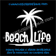 Beach Life Tropical Palm Tree Sand Summer Vinyl Decal WHITE
