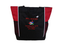 Teacher Stacked Books Changing the World One Student at a Time Personalized Embroidered RED Zippered Tote Bag Font Style CHILDS PLAY