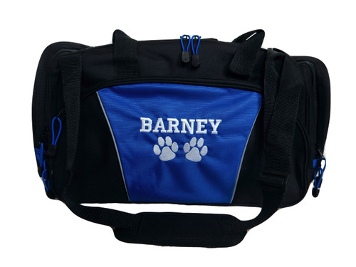 Paw Prints Vet Tech Personalized Embroidered ROYAL BLUE DUFFEL Font Style VARSITY