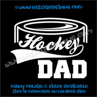 Ice Hockey Puck Dad Vinyl Decal WHITE