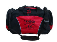 Wrestling Wrestlers Coach Mom Team Personalized Embroidered RED DUFFEL Font Style VARSITY and ARIAL BOLD