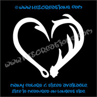 Deer Antlers Hunting Fishing Fish Hook Heart Love Redneck Vinyl Decal