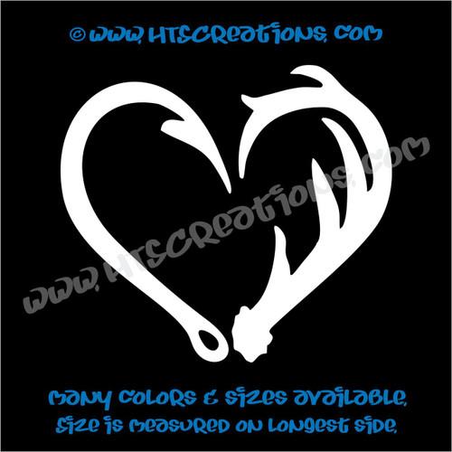 Deer Antlers Hunting Fishing Fish Hook Heart Love Redneck Vinyl Decal