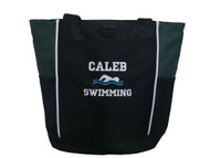 Swim Swimming Swimmer Icon Personalized Embroidered Zippered HUNTER GREEN Tote Bag Font Style  JESTER