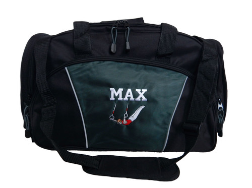 Male Gymnast Rings Gymnastics Personalized Embroidered HUNTER GREEN DUFFEL Font Style VARSITY