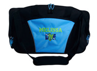 Diver Scuba Snorkel Diving Under Water Sports Personalized Embroidered LIGHT BLUE DUFFEL Font Style VARSITY