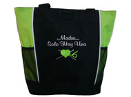 Knitting Needles Heart Crochet Embroidery Crafts Custom Monogrammed Personalized LIME GREEN Tote Bag Font Style CASUAL SCRIPT