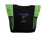 Caduceus Nurse Nursing RN CNA LPN BSN OT PT Personalized Embroidered Zippered LIME GREENTote Bag Font Style CURSIVE