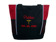 Caduceus Nurse Nursing RN CNA LPN BSN OT PT Personalized Embroidered Zippered RED Tote Bag Font Style CASUAL SCRIPT