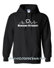 Heart EKG EMT EMS Paramedic Nursing Student Hoodie Sweatshirt BLACK with WHITE Print