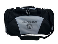 Horse Head Riding Equestrian Vet Tech DVM Personalized Embroidered GREY DUFFEL Font Style MONO CORSIVA