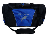 Horse Silhouette Jumping Riding Equestrian Vet Tech DVM Personalized Embroidered ROYAL BLUE DUFFEL Font Style OLD ENGLISH