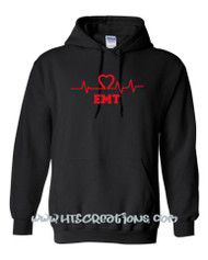 Heart EKG ER Nurse EMT EMS Paramedic Nursing Student Hoodie Sweatshirt BLACK with RED Print