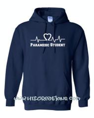 Heart EKG EMT EMS Paramedic Nursing Student Hoodie Sweatshirt NAVY with WHITE Print