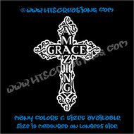Celtic Cross Irish Ireland Religious Church Amazing Grace Vinyl Decal WHTE