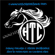 Horse Head Equestrian Rodeo Western Circle 3 Letter Monogram Vinyl Car Decal Sticker Rescue WHITE