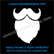 Mustache Curly Beard Hippie Boho Car Truck Boat Laptop Vinyl Decal WHITE