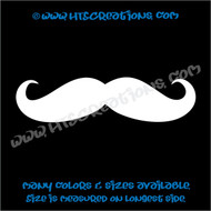 Mustache Thin Curly Pointy Swirl Stache Hipster Boho Car Truck Boat Laptop Vinyl Decal WHITE