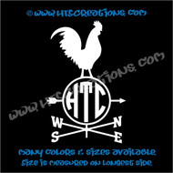Weathervane Chicken Farm Wind Home Barn Tractor Car Truck Laptop Vinyl Decal WHITE
