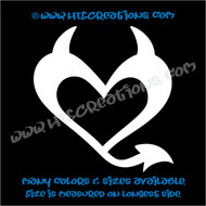 Devil Heart Horns Romance Friendship Sexy Love Car Truck Laptop Wall Vinyl Decal WHITE