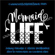 Mermaid Life Hawaii Hawaiian Island Beach Aloha Truck Bumper Laptop Wall Vinyl Decal WHITE